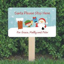 Personalised Santa Stop Here Sign - Santa and Elf Festive House Design - Christmas Sign Decoration